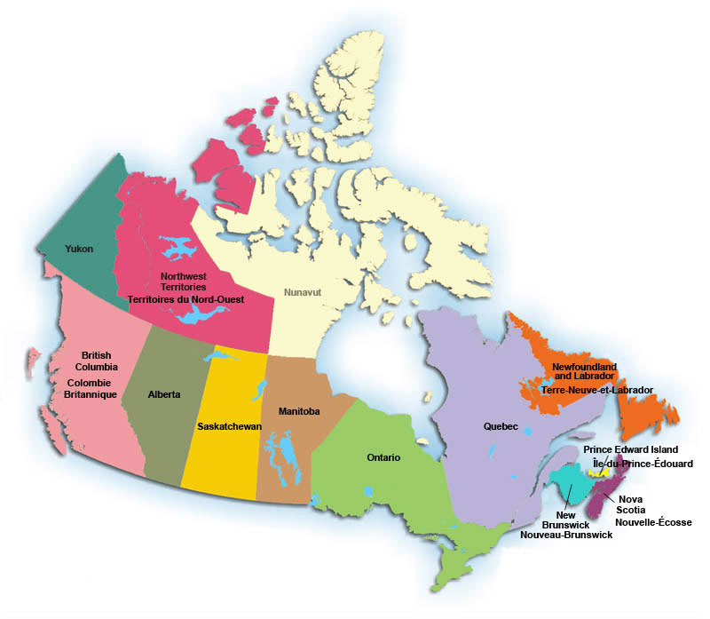 Map of Canada with hyperlinks to Professional Photographers of Canada Regions.