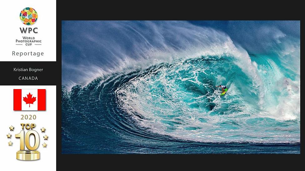 surfing waves crashing