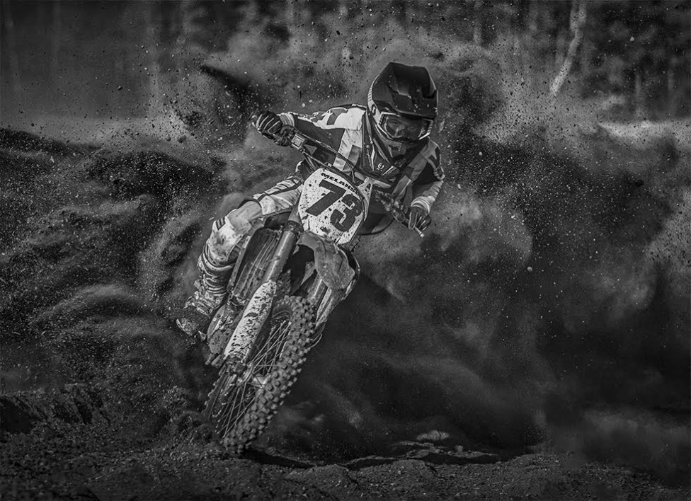 A black and white action photo from Riverglade Motorcross Park by Jason Bowie