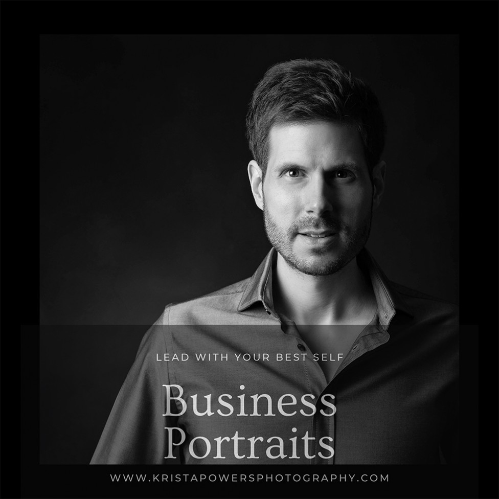 A black and white business headshot of a man, by Moncton photographer Krista Powers.