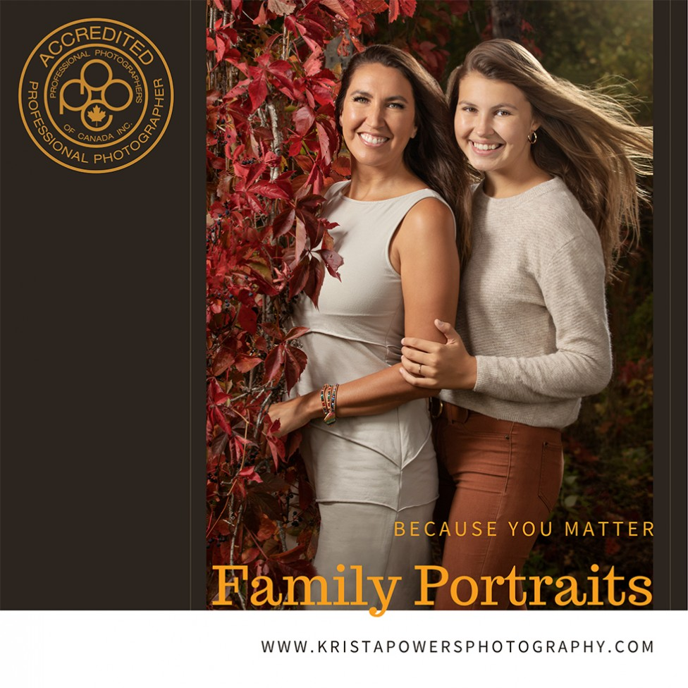 A family portrait of two young women with fall leaves, by Krista Powers of Moncton