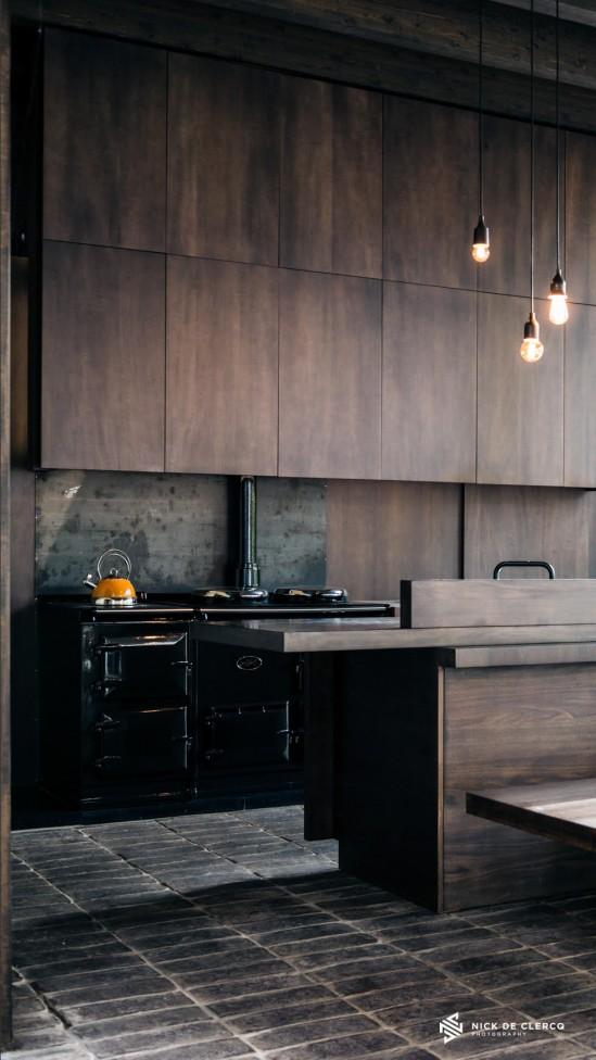 An Architectural interior photo of a Wabi-Sabi kitchen by photographer Nick De Clercq