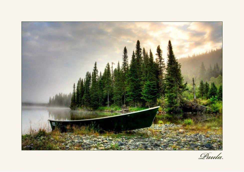 A photo of a green boat next to water, with pine trees in the background, by photographer Paula Lirette.