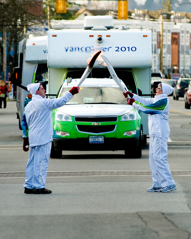 A photo of the 2010 Olympic Torch Relay in Langley, BC. By David James.