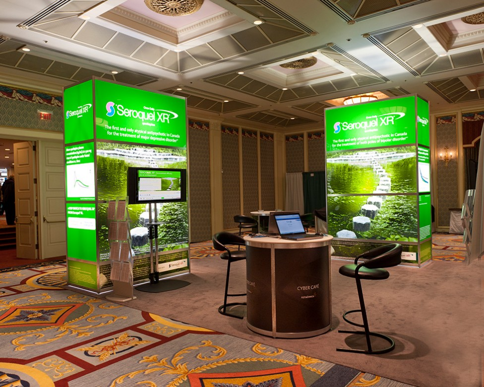 A commercial image of a trade show booth by David James.