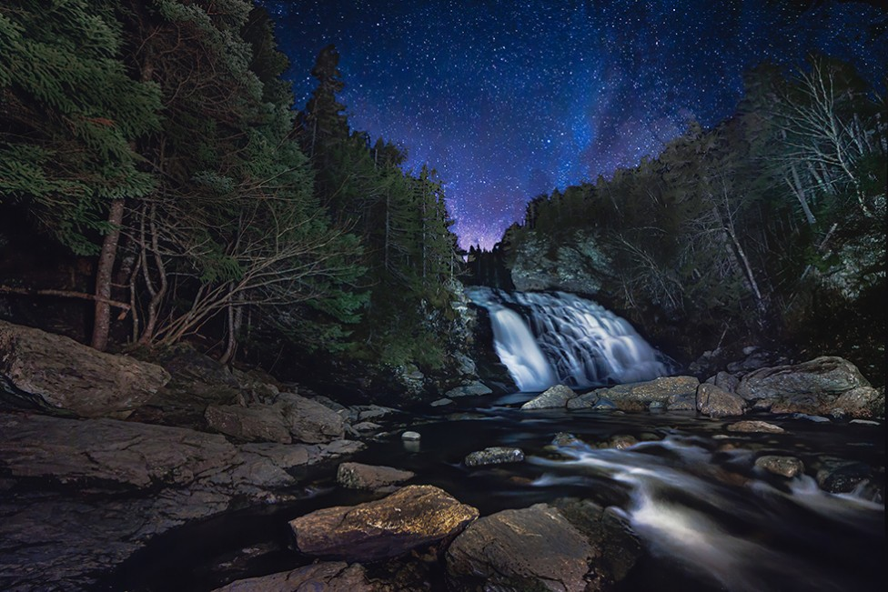The night sky over Laverty Falls, by Moncton photographer, Don Lewis