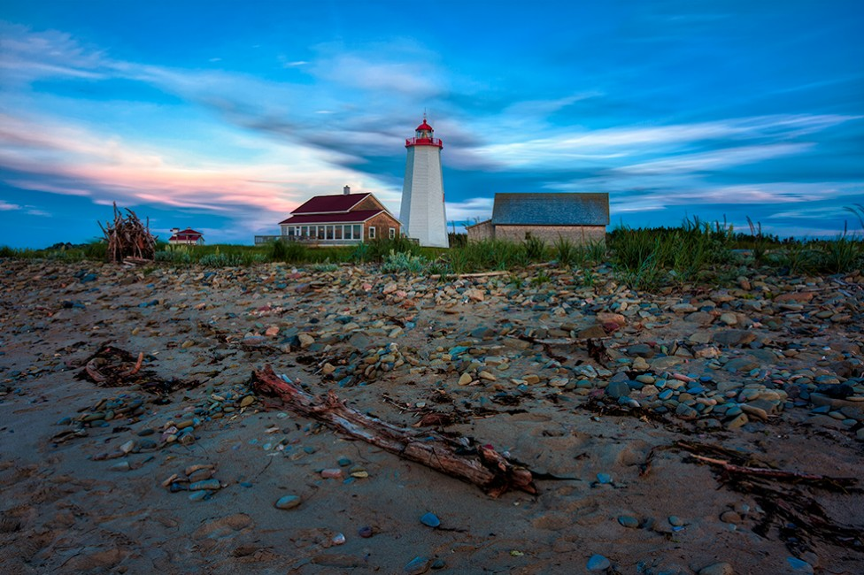 The Miscou Island Lighthouse at dusk, by Moncton photographer, Don Lewis