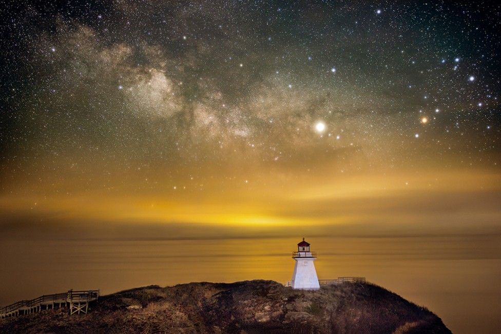 The night sky over the Cape Enrage lighthouse, by Don Lewis