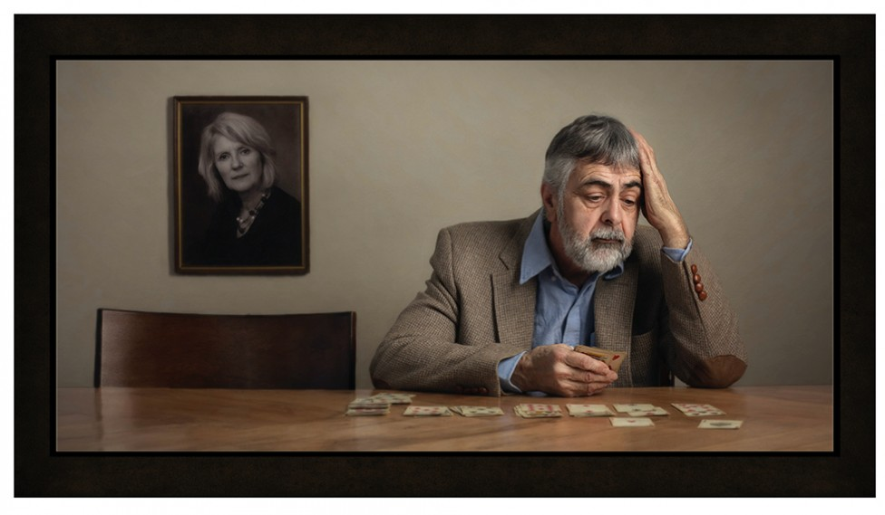 An portrait of a lonely man playing solitaire, by Jamie Bard