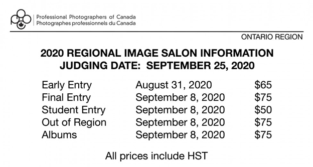 2020 Ontario Region Image Salon Dates